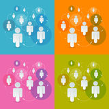 Vector Paper People in Circles Set Stock Photos