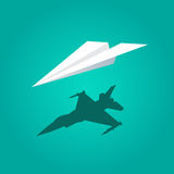Vector paper plane green background Royalty Free Stock Image