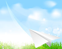Vector paper plane soaring against the blue sky. The  Vector paper plane soaring against the blue sky Royalty Free Stock Photos