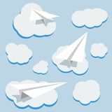 Vector paper planes and clouds Stock Photos