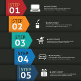 Vector paper progress steps for tutoria. One two three four five- vector paper progress steps for tutorial Stock Photography