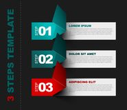 Three steps template vector. Vector Paper Progress template with three steps - teal and red dark version Stock Images