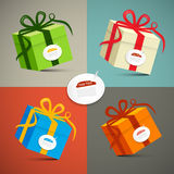Vector Paper Retro 3d Gift Boxes. Set Illustration Stock Image