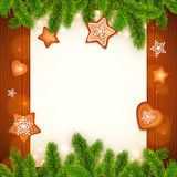 Vector paper sheet with gingerbread and fir tree Royalty Free Stock Images