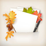 Vector Paper Sheet in Pocket and Fallen Leaves Stock Photos