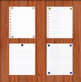 Vector Paper Sheets Attached by Pin Buttons to the Wooden Wall, Realistic Illustration. vector illustration