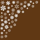 Vector paper Snowflakes in the corner on a brown background,. Vector paper Snowflakes in the corner on a brown background stock illustration