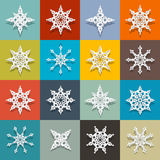 Vector Paper Snowflakes Set Royalty Free Stock Photos