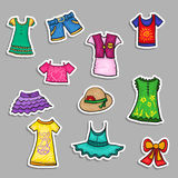 Vector paper stickers set - cartoon kids Stock Image