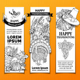 Vector paper Thanksgiving vertical banners set. Stock Image