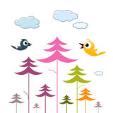 Vector Paper Trees, Birds and Clouds Stock Photos