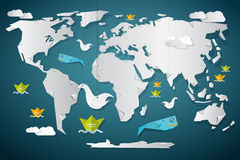 Vector Paper World Map with Fish. Boats Birds and Clouds Stock Image