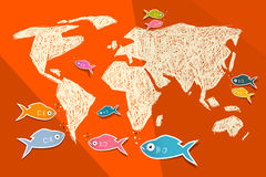 Vector Paper World Map Illustration. With Fish on Red Background Stock Photo