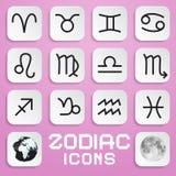 Vector Paper Zodiac, Horoscope Square Symbols Stock Image