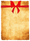 Vector papyrus paper texture. With bow and ribbons Stock Photo