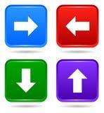 Vector para arriba abajo del sistema cuadrado trasero siguiente del icono del botón stock de ilustración