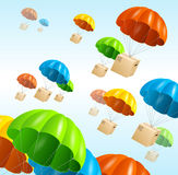 Vector parachute background. Air shipping concept Royalty Free Stock Image