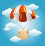 Vector parachute background. Air shipping concept Stock Photo