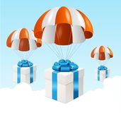 Vector parachute background. Air shipping concept Royalty Free Stock Photo