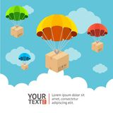 Vector parachute card Stock Image