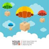 Vector parachute card Stock Image