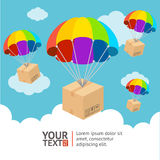 Vector parachute delivery card stock illustration