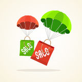 Vector parachute with paper bag sale. Flat Design Royalty Free Stock Photography