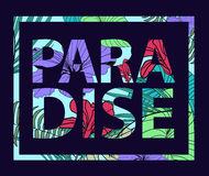Vector paradise tropical plant print. T-shirt slogan, card, poster Royalty Free Stock Images