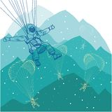 Vector paragliding sportsmen in mountains Royalty Free Stock Photos