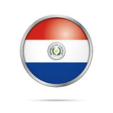 Vector Paraguayan flag button. Paraguay flag in glass button sty Royalty Free Stock Images
