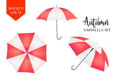 Vector parasol, rain umbrella sunshade. red, striped round mock up. Vector parasol. rain umbrella. red Colored Striped Opened Round Sunshade Mock up set . top stock illustration