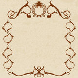 Vector parchment frame. Monogram parchment frame.  illustration Royalty Free Stock Images