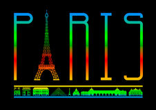 Vector  Paris and  attractions Stock Photos