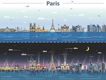 Vector Paris city skyline at day and night Stock Photos