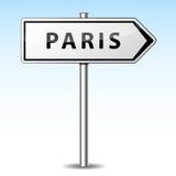 Vector paris directional sign. Vector illustration of paris directional sign on sky background Stock Image