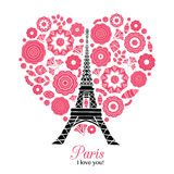 Vector Paris Eifel Tower Bursting With St Valentines Day Red Hearts Of Love. Perfect for travel themed postcards Royalty Free Stock Images