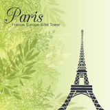 Vector Paris Eiffel Tower On Green Leaves Spring Background. Great For Travel In France Card, Poster, Party Invitation. Pastel green colors in fresh modern Stock Image