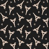 Vector Paris Eiffel towers shapes seamless pattern on black background royalty free illustration