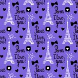 Vector Paris I love you seamless pattern. Hand drawing black set of Eiffel tower, inscriptions lettering. Vector Paris I love you seamless pattern. Hand drawing royalty free illustration
