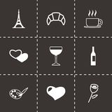 Vector paris icon set Royalty Free Stock Photos