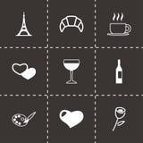 Vector paris icon set Royalty Free Stock Photos