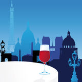 Vector Paris illustration with glass of wine Royalty Free Stock Photography