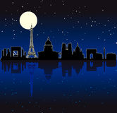 Vector Paris silhouette skyline. Black illuminated Paris by night silhouette skyline vector illustration
