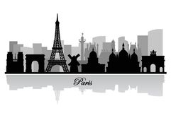 Vector paris skyline silhouette Stock Images