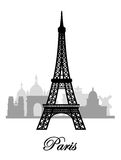 Vector paris skyline silhouette Royalty Free Stock Photo