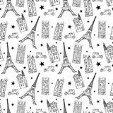 Vector Paris Streets Black White Drawing Seamless Pattern with Eifel Tower, houses, cars and stars.nn Royalty Free Stock Photography