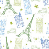 Vector Paris Streets Blue Green Drawing Seamless Pattern with Eiffel Tower, houses, cars and stars. Perfect for travel Stock Photo