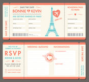 Vector Paris Wedding Invite Tickets Royalty Free Stock Photo