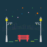 Vector  Park bench and streetlight on city background Stock Photos