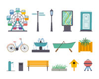 Vector park elements. Vector set of park and gardens elements: ferris wheel, street light, guidance sign, map panel, wc, bike, fountain, boat with oars Royalty Free Stock Photography